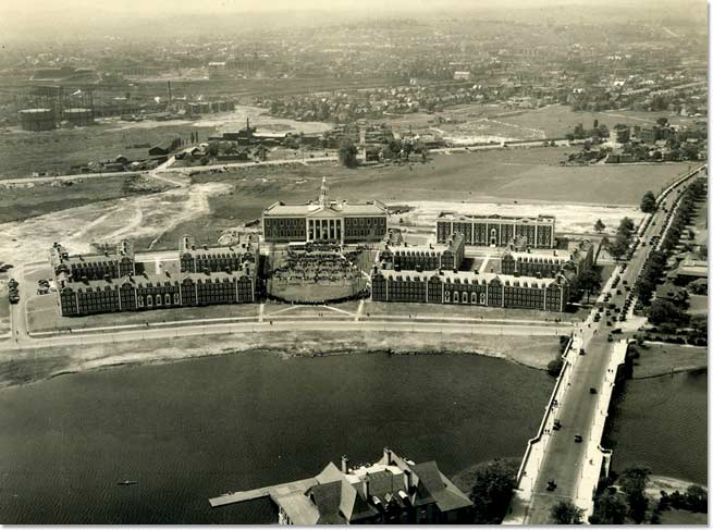 Aerial view of Campus during Dedication Ceremonies, June 4, 1927.