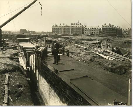 Construction of Weeks Bridge.