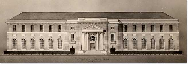 Competition drawing for the HBS library by Parker, Thomas & Rice, 1924.