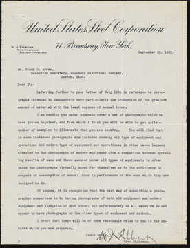 Letter from W. J. Filbert, U.S. Steel Corporation, to Frank C. Ayres