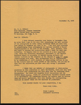 Letter from Frank C. Ayres to W. J. Filbert, U.S. Steel Corporation