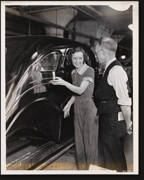Frank Ryan, veteran worker in the De Soto body plant, has created all of the stripe guns used in painting stripes on Chrysler-made cars. He has developed at least 25 different types of engines,- including models that paint three different colored stripes at the same time.
