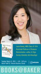Poster image for Laura Huang's Books@Baker book talk, which shows a photograph of Laura and the cover of her book Edge