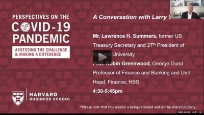 Video thumbnail of COVID-19 Pandemic conversation with Larry Summers, President of Harvard University