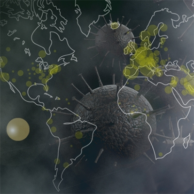 World map superimposed on image of coronaviruses.