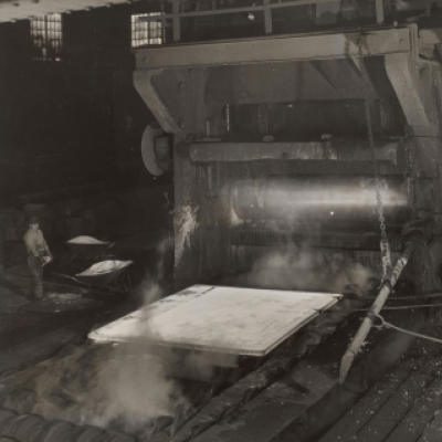 Shifting a red hot steel plate--Gary Works
