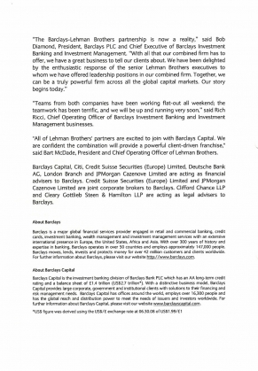 Barclays Group. Press Release, September 22, 2008. Barclays Group Archives - 2.