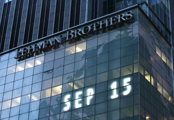 Lehman Brothers Building, September 15, 2008. Photo by Nicolas Roberts/AFP/Getty Images.