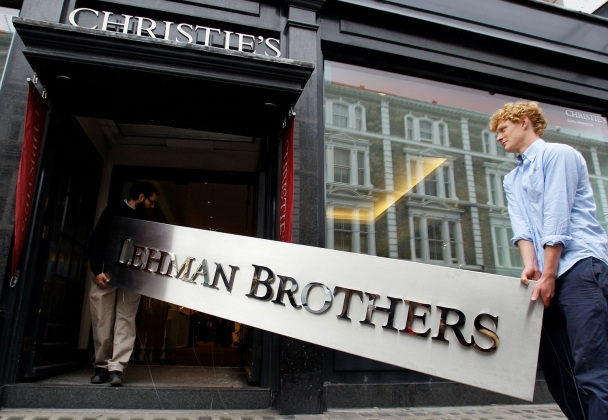 Lehman Brothers sign taken into Auction House in London, September 24, 2010. Courtesy of AP Photo/Kirsty Wigglesworth.