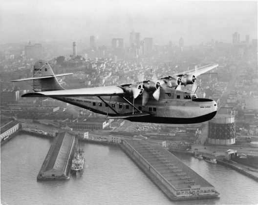 Aerial view of Pan American Airways China Clipper over San Francisco, c. 1936. Prints & Photographs Division, Library of Congress, LC-USZ62-111417.
