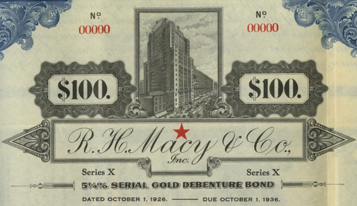 R. H. Macy & Co., Inc., Stock Certificate, October 1, 1926. Lehman Brothers Deal Books, Baker Library, Harvard Business School.