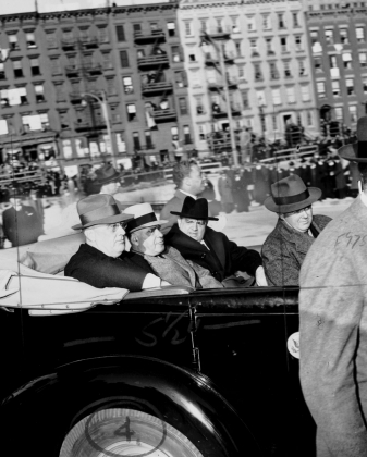Franklin D. Roosevelt, Governor Herbert Lehman, and Mayor Fiorello LaGuardia on an election campaign tour, 1940. International Garment Workers' Union Photographs, Kheel Center, Cornell University.