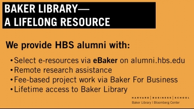 Baker Library - A Lifelong Resource for Alumni